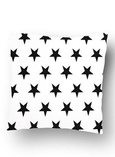 Lyn Home & Decor Beyaz Zemin Siyah Yıldızlar Yastık Kılıfı Beyaz